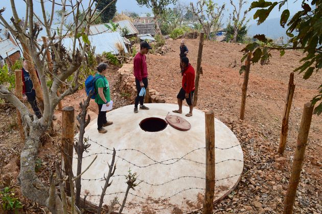 The 18,000 litre water tank provides water for the community, but this morning it's