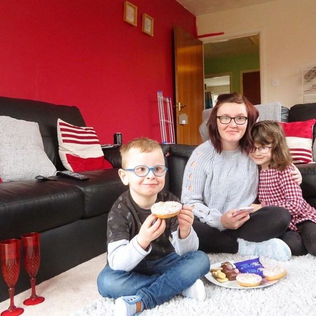 Chloe Wood and her children Mia and