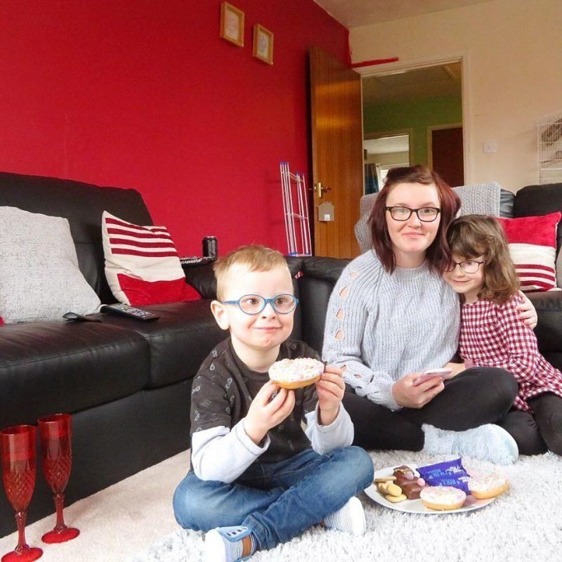 Chloe Wood and her children Mia and Theo.