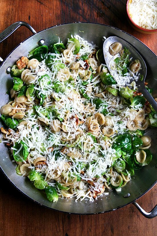 "<strong>Get the&nbsp;<a href=""http://www.alexandracooks.com/2013/10/07/orecchiette-with-brown-butter-brussels-sprouts-walnuts"