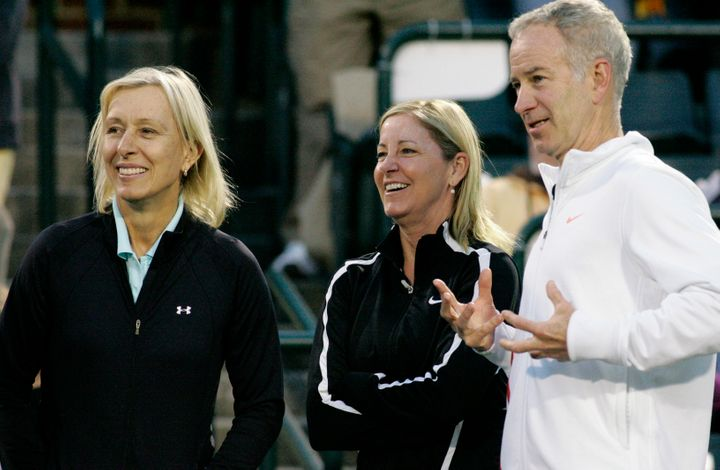 Martina Navratilova, pictured left with Chris Evert and John McEnroe in 2012, said she was told by the BBC that her pay was c