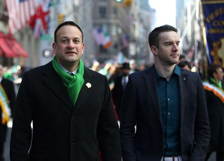 Irish Prime Minister Leo Varadkar (left) said marching alongside his partner,Matt Barrett, at the St. Patrick's Day Par