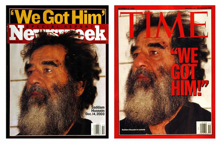 This December 15, 2003 combo photo shows the latest covers of Newsweek and Time magazines, both featuring former Iraqi leader