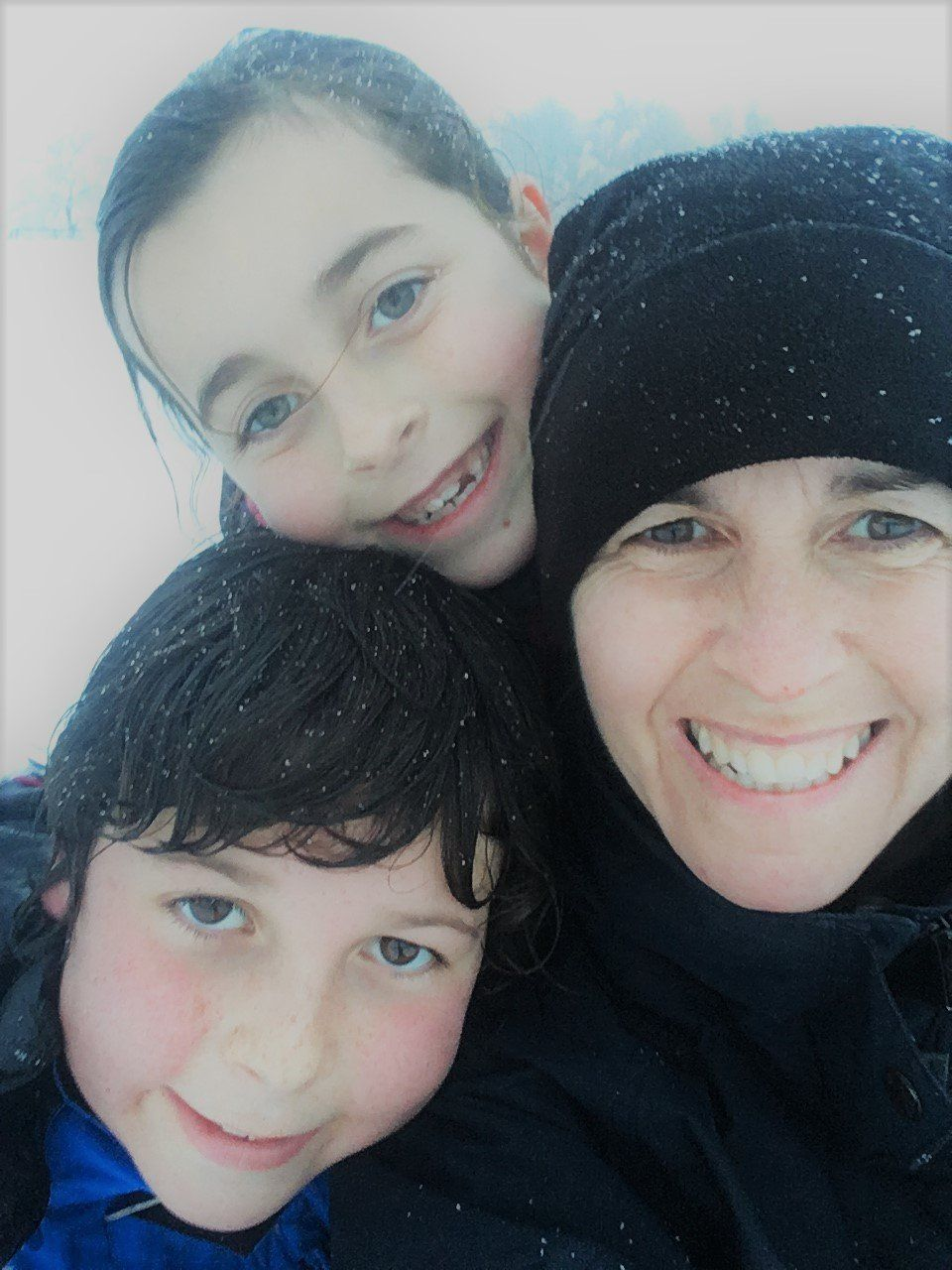 Justine Lee and her two kids, aged nine and 11.