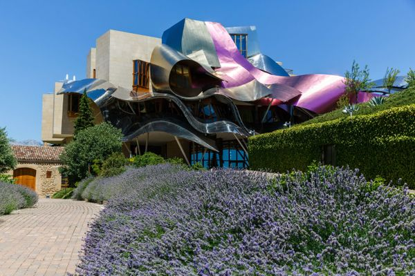"""Frank Gehry designed this luxury hotel in Spain's wine country. Located in Elciego, the <a href=""""http://www.hotel-marquesderi"""