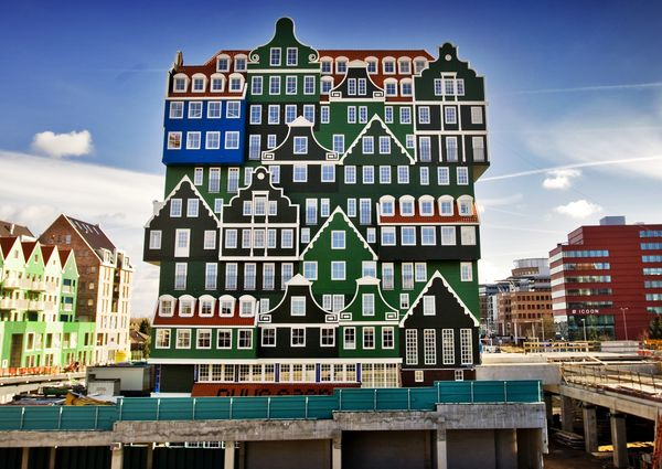 Zaandam, a city just north of Amsterdam, boasts a very unique hotel with a facadethat appears to consist of traditional