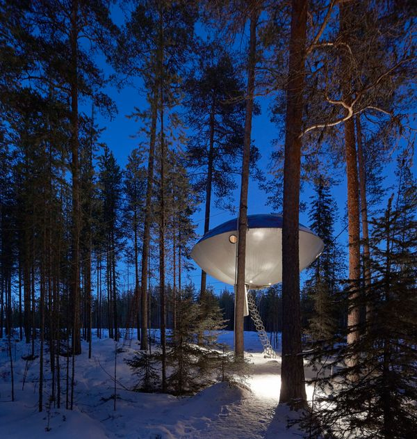 """<a href=""""http://www.treehotel.se/en/"""" target=""""_blank"""">Treehotel</a> in Harads, Sweden, takes the treehouse concept to the nex"""