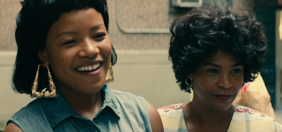 "Roxane Shanté (played by Chanté Adams) stands alongside her mother (Nia Long) in the film ""Roxanne, Roxanne."""