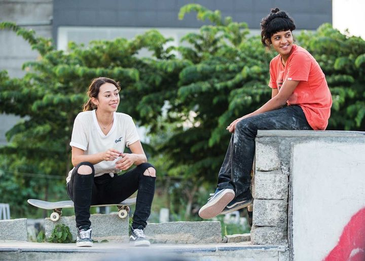 Vans pro skateboarder Lizzie Armanto with Verghese in India.