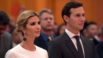 WASHINGTON D.C., Sept. 28, 2017 :  Ivanka Trump (L) and her husband Jared Kushner, White House senior adviser, attend the National Day reception held by the Chinese Embassy in Washington D.C. Sept. 27, 2017. (Xinhua/Yin Bogu via Getty Images)