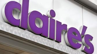 A shop sign for claire's in central London.