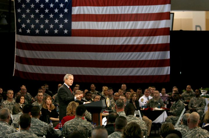 President George W. Bush speaks to U.S. troops and their families after having lunch with them Jan. 11, 2007, at Fort Benning