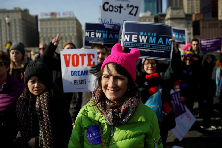 Candidate for Congress Marie Newman attends the Women's March in Chicago on Jan. 20, 2018.