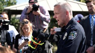 Police chief Brian Manley speaks during a news conference near the scene where a woman was injured in a package bomb explosion in Austin, Texas, U.S., March 12, 2018. REUTERS/Sergio Flores