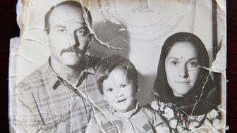 Simonian family as refugees in Iran on May 28, 1991.