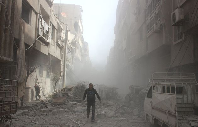 Buildings are damaged after airstrikes in eastern Ghouta, near Damascus, Syria, on