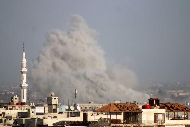 Smoke rises over Kafr Batna on