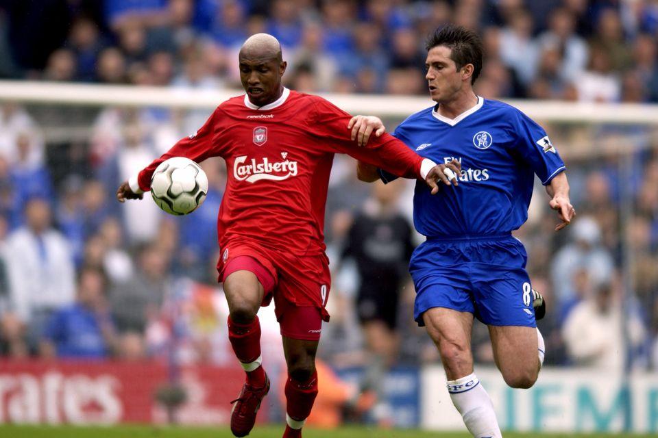 리버풀의 엘-하지 디우프(왼쪽)과 첼시의 프랭크 램파드. 2003년