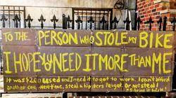Frau wird Fahrrad gestohlen – als sie eine Nachricht an den Dieb schreibt, klingelt es an ihrer Tür