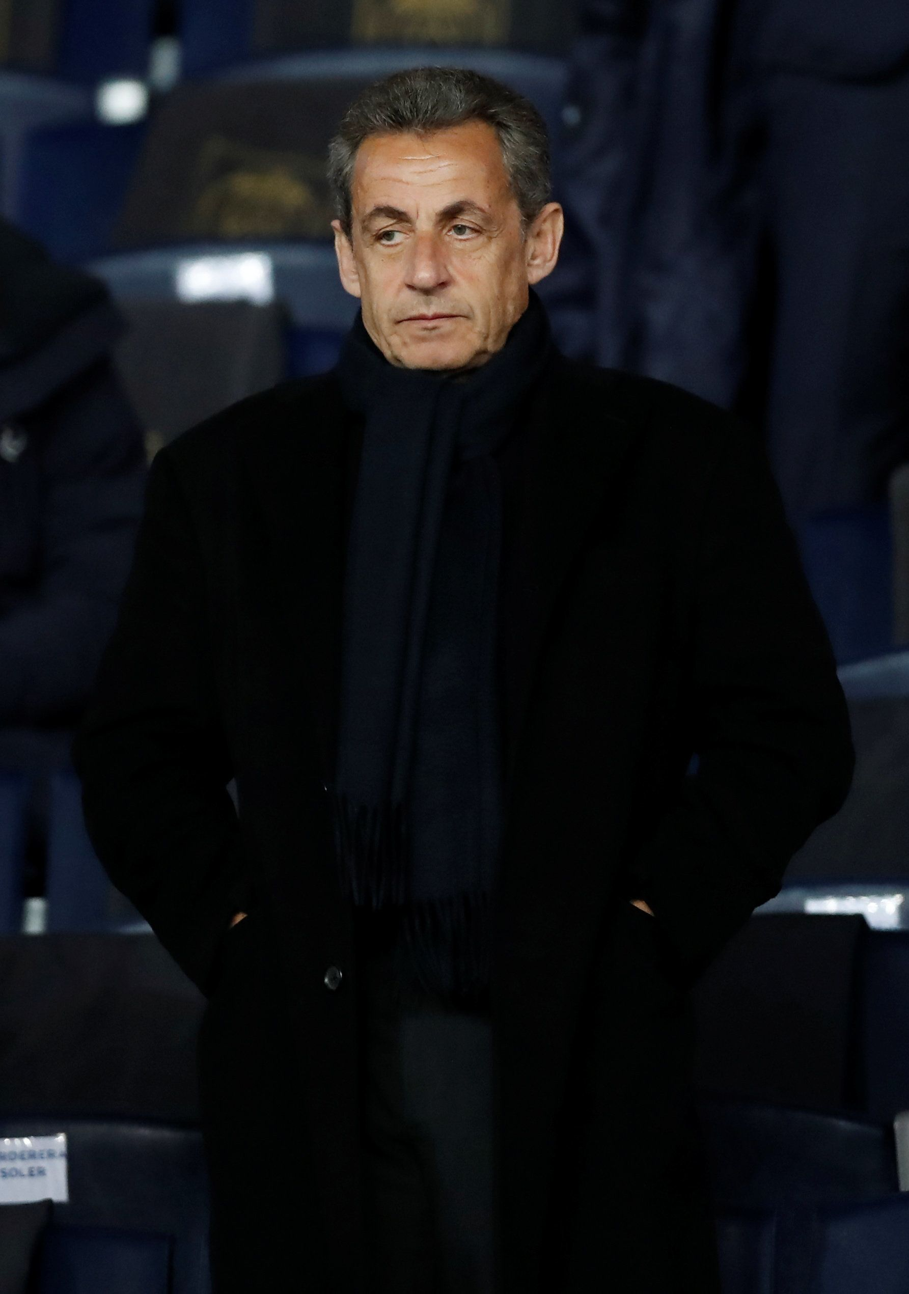 Soccer Football - Champions League Round of 16 Second Leg - Paris St Germain vs Real Madrid - Parc des Princes, Paris, France - March 6, 2018   Former President of France Nicolas Sarkozy in the stands   REUTERS/Gonzalo Fuentes