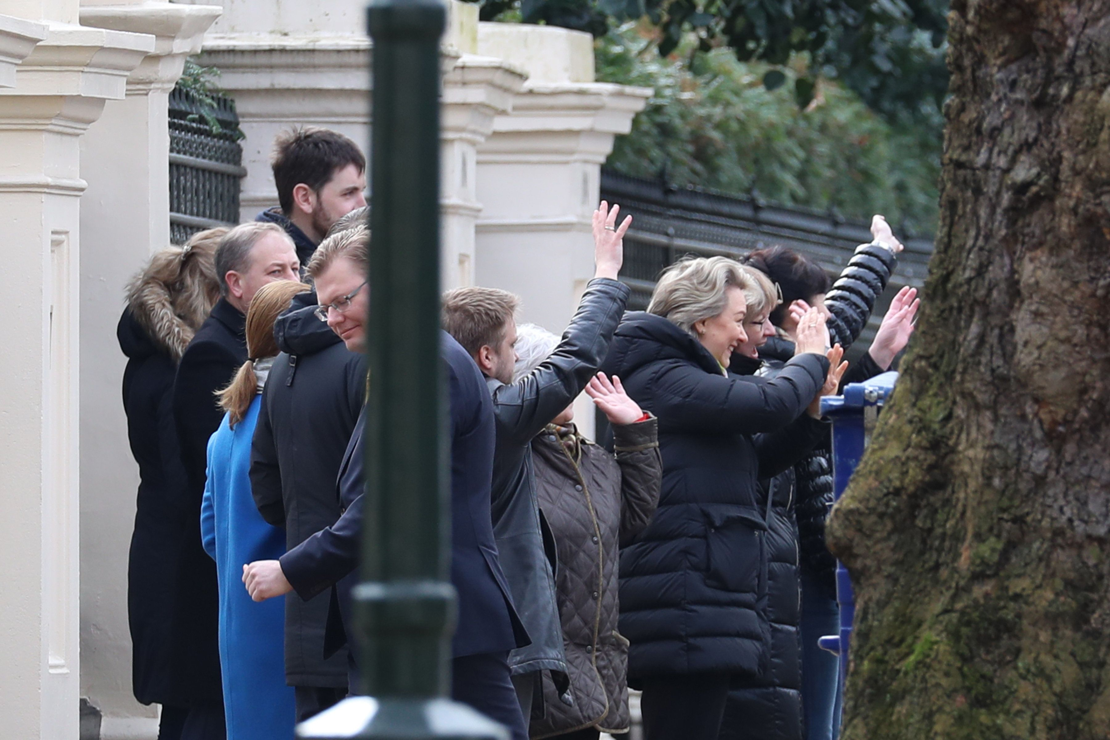 Neil Mockford via Getty Images                   Russian diplomats and their families are farewelled
