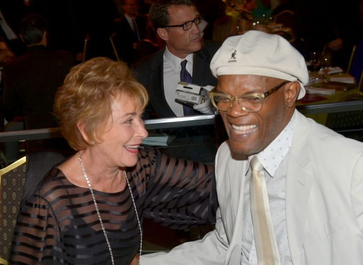 Judge Judy and Samuel L. Jackson sharing a laugh.