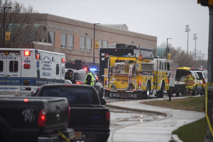 Emergency responders are seen on March 20, 2018 at Great Mills High School in Great Mills, Maryland, after a shooting at the