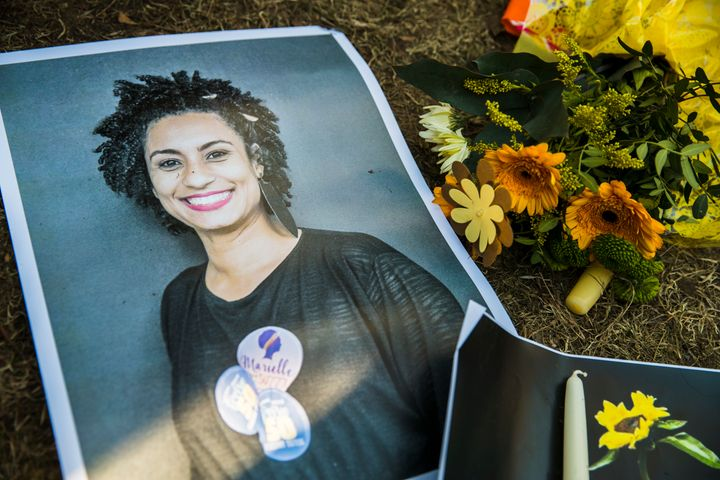 Marielle Franco's picture at a makeshift memorial during a protest in Berlin, Germany. Franco was murdered on March 14, as sh