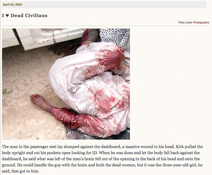 Jason Hartley occasionally showed the more gruesome sides of war on JustAnotherSoldier.com.