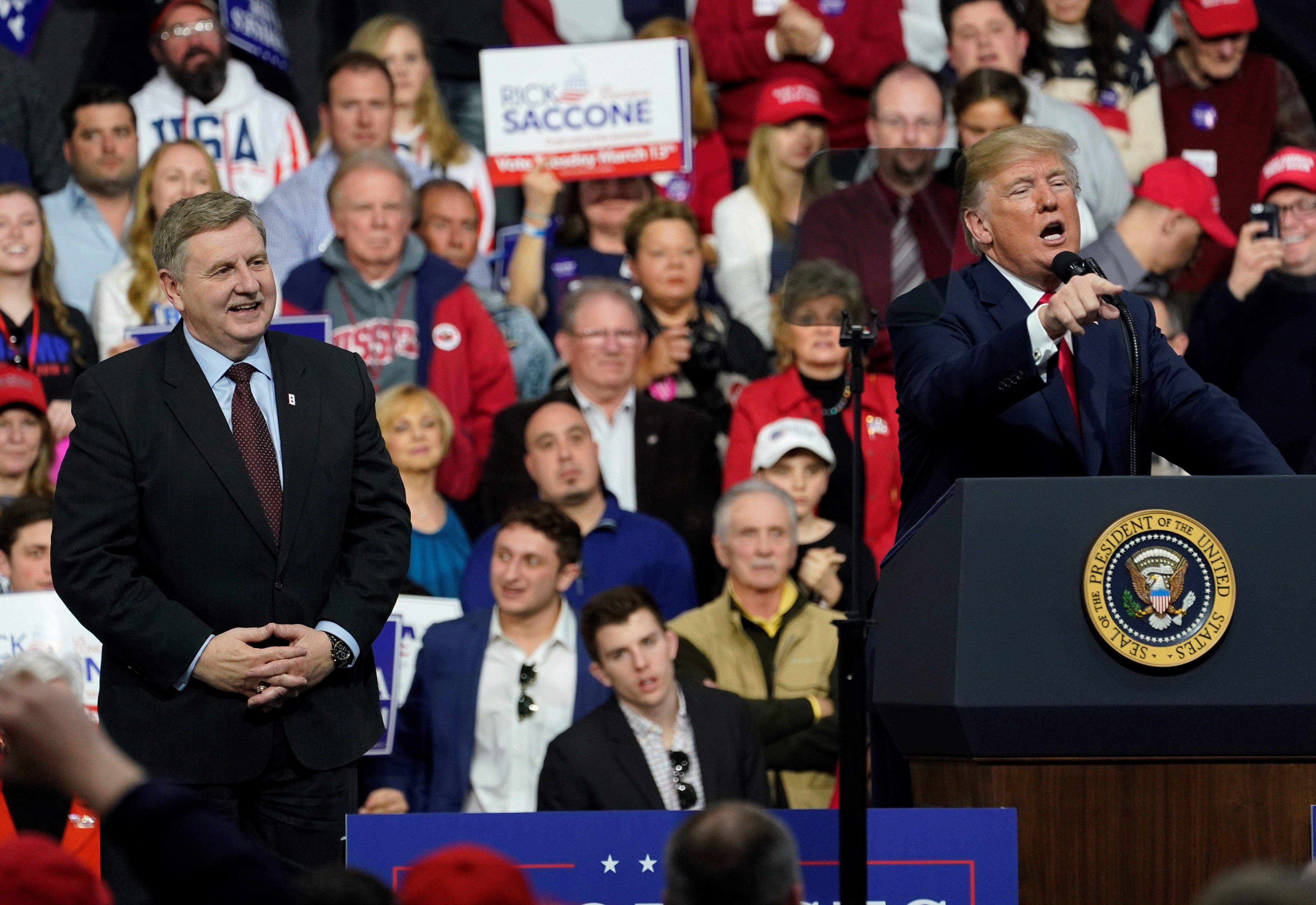 U.S. President Donald Trump speaks in support of Republican congressional candidate Rick Saccone during a Make America Great Again rally in Moon Township, Pennsylvania, U.S., March 10, 2018.      REUTERS/Joshua Roberts