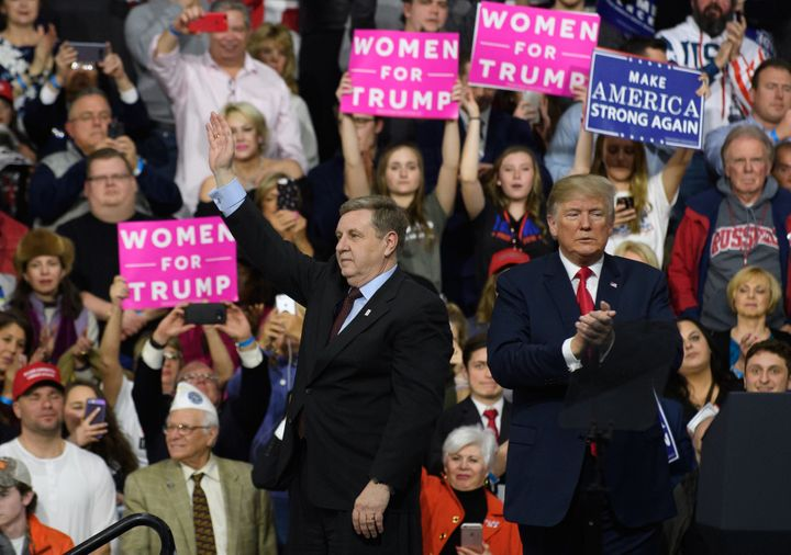 President Donald Trump shared a stage earlier this month with Rick Saccone in Pennsylvania's 18th Congressional District, but