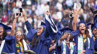 Washington, D.C.  On Saturday, May 7 at Howard University Upper Quandrangle University Campus, graduates celebrate, at the 148th Commencement Convocation.  (Photo by Cheriss May/NurPhoto via Getty Images)