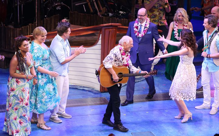 "Jimmy Buffett joined the cast of Broadway's ""Escape to Margaritaville"" onstage during the show's opening night March 15.&nbsp"