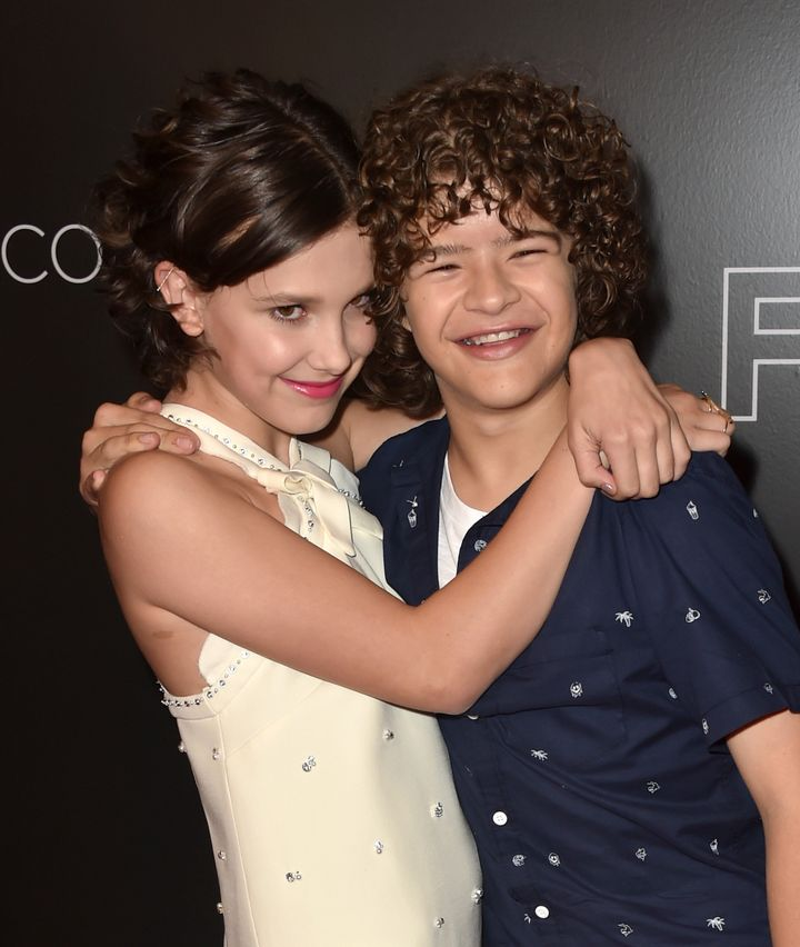 "Millie Bobby Brown and Gaten Matarazzo, pictured in June 2017, boosted a kid's spirits after no classmate attended his ""Stran"
