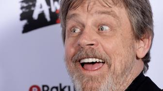 LONDON, ENGLAND - MARCH 18:  Mark Hamill, winner of the Best Film award for 'Star Wars: The Last Jedi', poses in the winners room at the Rakuten TV EMPIRE Awards 2018 at The Roundhouse on March 18, 2018 in London, England.  (Photo by Dave J Hogan/Dave J Hogan/Getty Images)