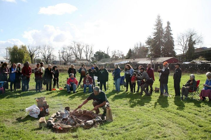 The land-honoring ceremony on the Oakland plotgiven to theSogorea Te Land Trust by Planting Justice.