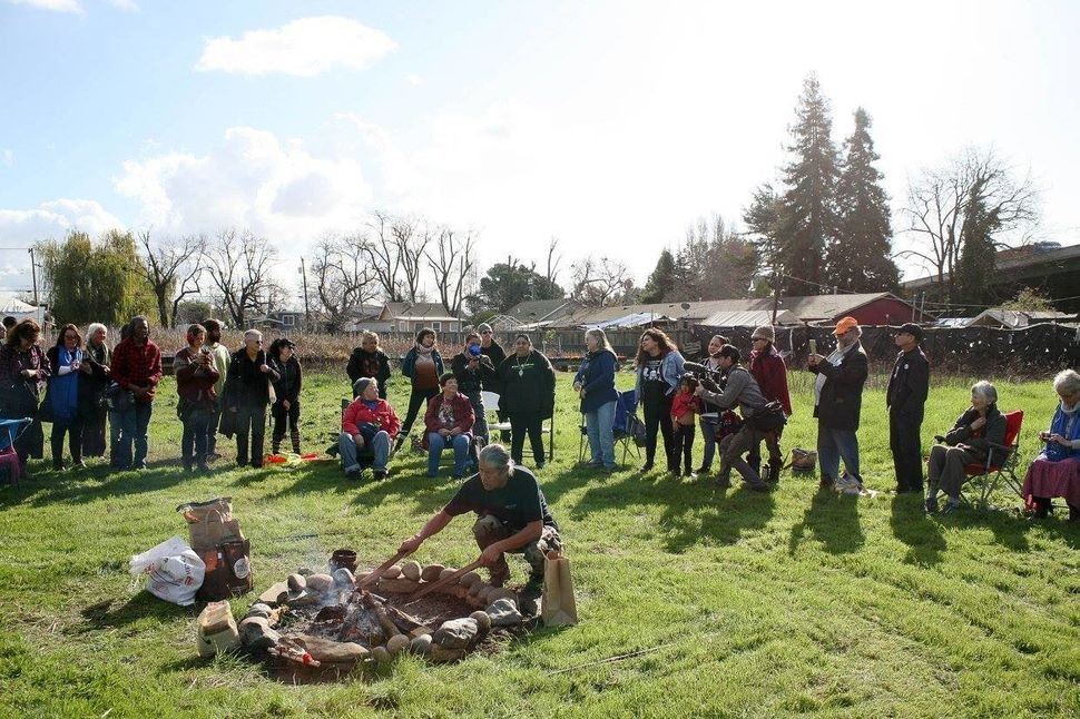 The land-honoring ceremony on the Oakland plot given to the Sogorea Te Land Trust by Planting Justice.