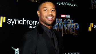 NEW YORK, NY - FEBRUARY 13: Michael B. Jordan attends The Cinema Society with Ravage Wines & Synchrony host a screening of Marvel Studios' 'Black Panther' at The Museum of Modern Art on February 13, 2018 in New York City.  (Photo by Paul Bruinooge/Patrick McMullan via Getty Images)