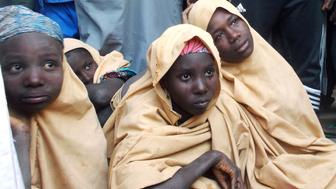 Some of the newly-released Dapchi schoolgirls are pictured in Jumbam village, Yobe State, Nigeria  March 21, 2018. REUTERS/REUTERS/Ola Lanre