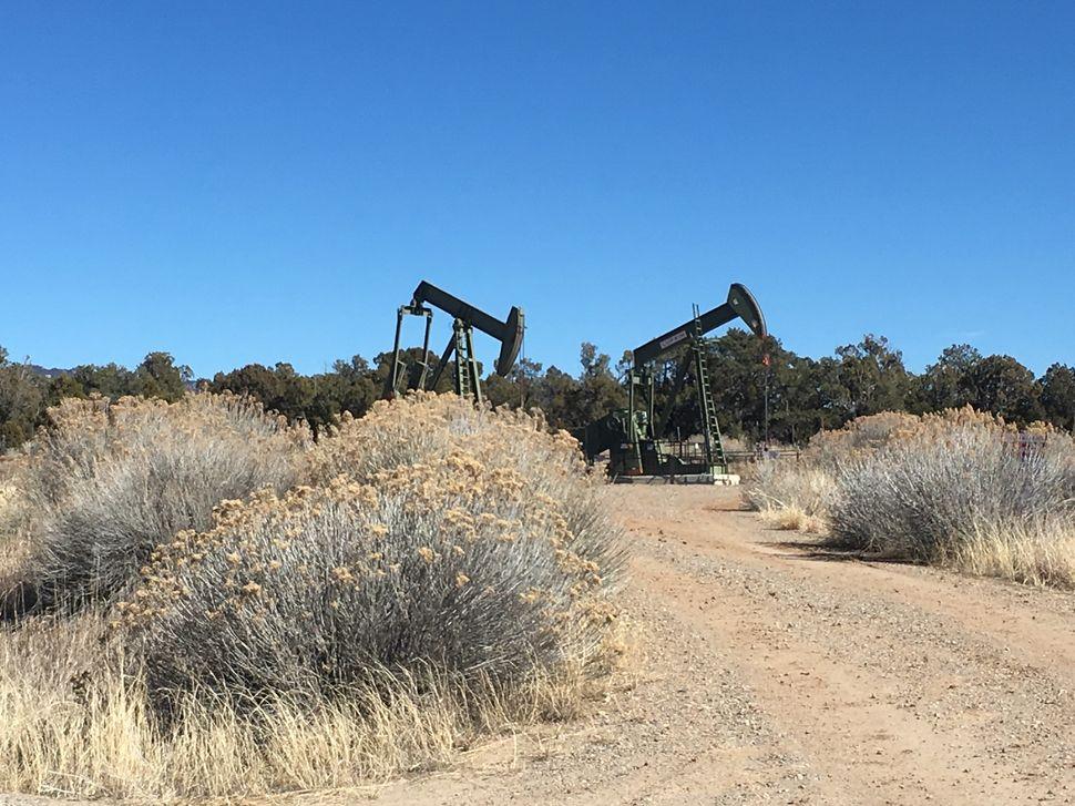 Two pumpjacksin rural La Plata County.