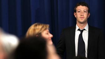SAN FRANCISCO, CA - APRIL 19:  Facebook CEO Mark Zuckerberg looks on before the start of a town hall style meeting with U.S. President Barack Obama at Facebook headquarters on April 20, 2011 in Palo Alto, California.  (Photo by Justin Sullivan/Getty Images)