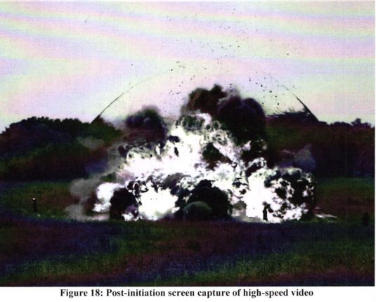The FBI Laboratory's Explosives Unit constructed and set off a 300-pound car bomb using fertilizer to show the damage t