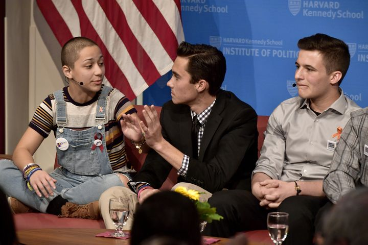Survivors of the Marjory Stoneman Douglas High School shooting Emma Gonzalez, David Hogg, center, and Cameron Kasky speak at