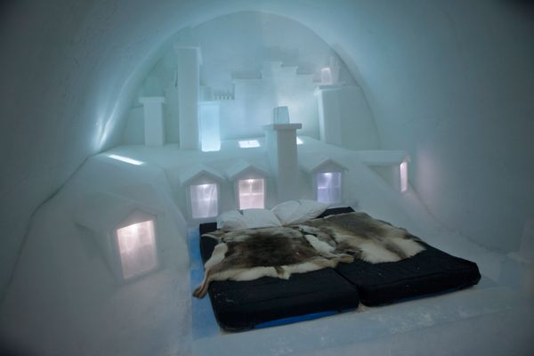 """Every year, the <a href=""""https://www.icehotel.com/"""" target=""""_blank"""">Icehotel</a> is rebuilt in the village of Jukkasjarvi in"""