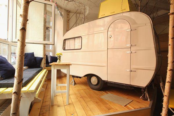 "At <a href=""http://huettenpalast.de/?lang=en"" target=""_blank"">Huettenpalast</a>in Berlin, guests stay in old campers an"