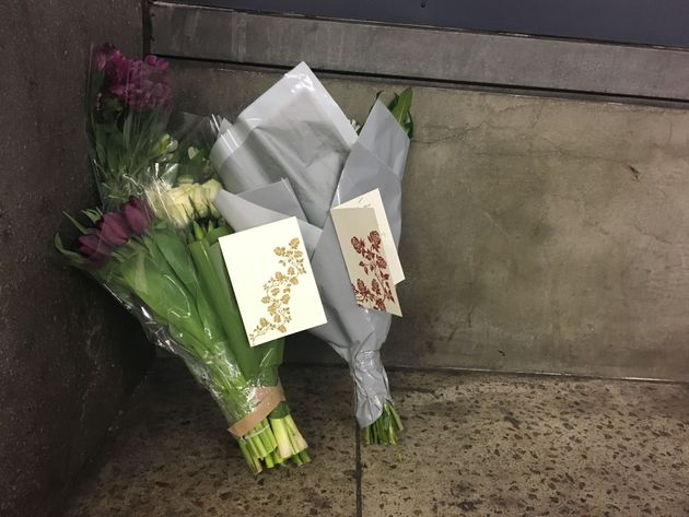 Flowers and cards from Labour leader Jeremy Corbyn and staff, left at Westminster Underground station...