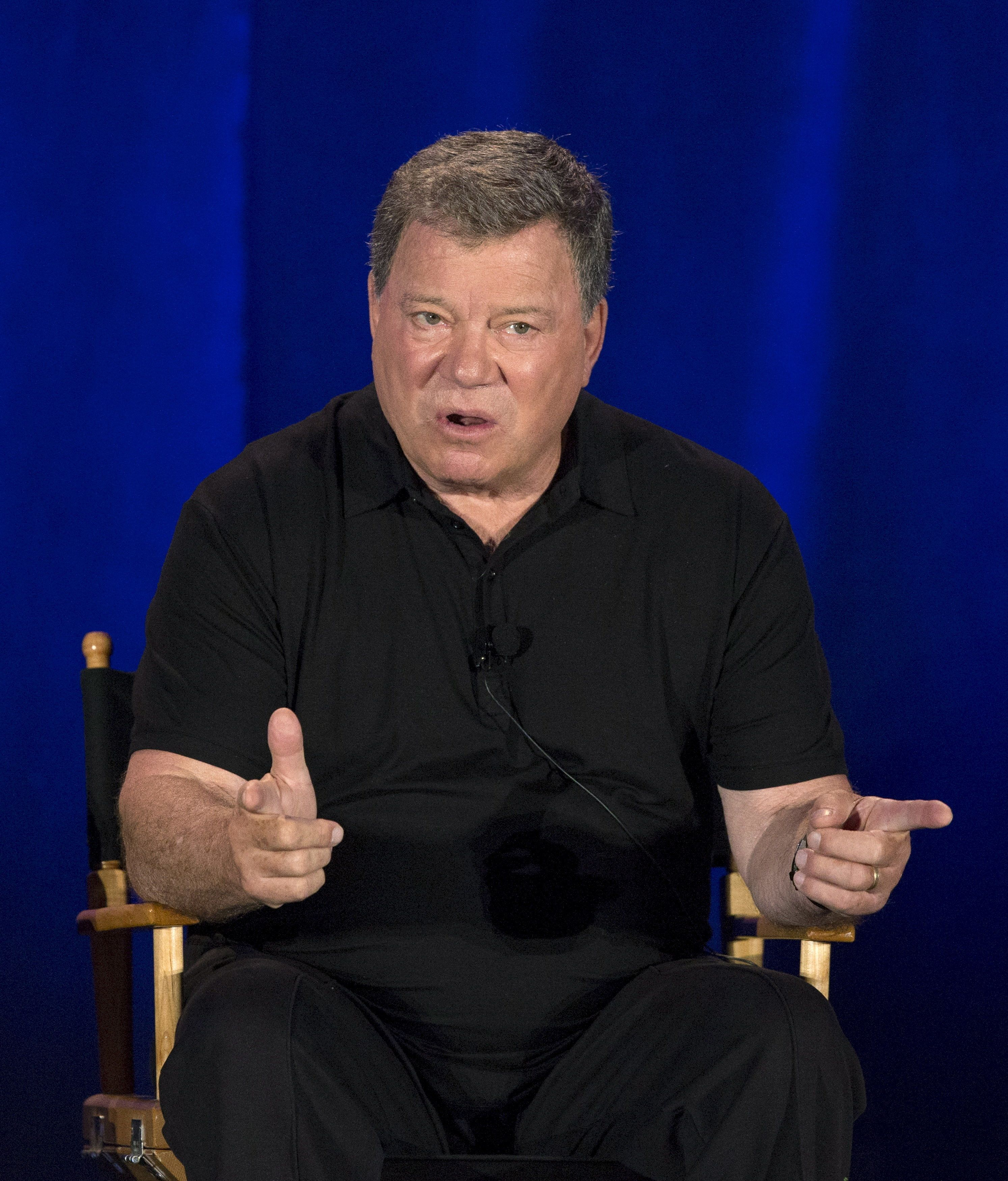"""Actor William Shatner speaks at a panel for the television series """"Clangers"""" during an NBC summer press day in Pasadena, California April 2, 2015.   REUTERS/Mario Anzuoni"""