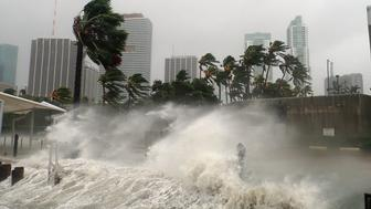 Hurricane Irma seen striking Miami, Florida with 100+ mph winds and destructive storm surge.