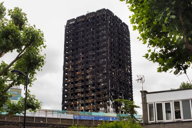 General view of the remains of the Grenfell