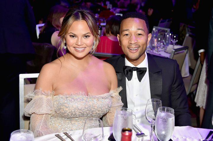 Chrissy Teigen (not Chrissy Legend) and John Legend at a pre-Grammy gala on Jan. 27.
